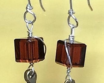 Sterling Silver Earrings with Amber Glass Crystal