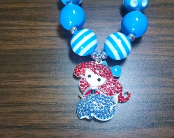 Ariel Little Mermaid Disney Inspired Toddler Bubblegum Necklace.  Rhinestone Pendant Ariel Necklace