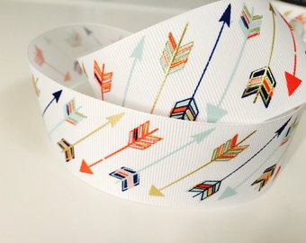 Gold Colourful Arrow Grossgrain Ribbon 1.5 inches wide