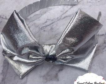 Grey Texture Bow Headband