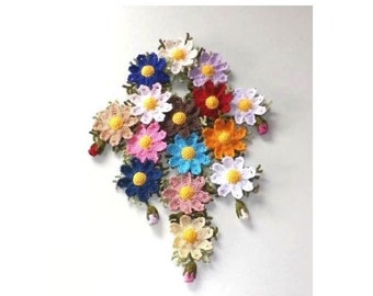 Cute Ponytail Holder Scrunchie Handmade Cosmos Flower Crochet Made InJapan  for party, wedding, gift