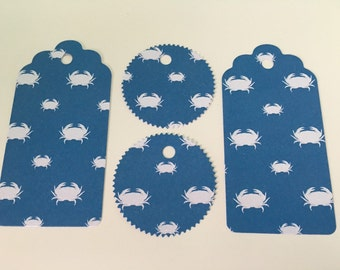 X12 Glittered Blue Crab Gift Tags