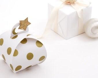 5 gold polka dot gable boxes, wedding favor boxes, gift boxes, cute gift boxes, dome boxes, party favor boxes, bridal shower favor boxes