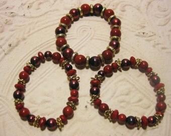 Vintage Bracelet, Vintage Beaded Bracelet, Vintage Jewelry, Bracelet Set Of 3, Candy Apple Red, Red Bracelet Set, Cranberry & Red, Stretch