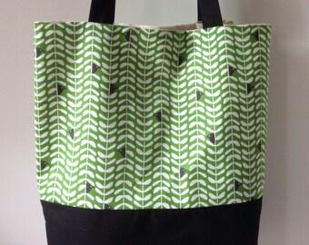 Gorgeous Everyday Tote Bag.  Lovely peekaboo bird fabric Handmade