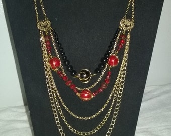 Black and red, beaded chain necklace