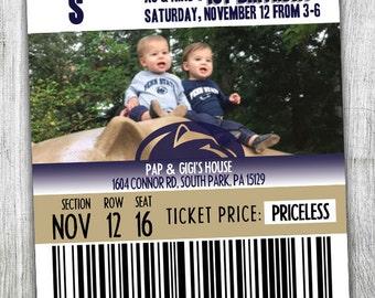 Personalized Penn State Birthday Invitation - Penn State Football - Penn State Ticket - PSU - Blue and White - Custom Birthday Invitation