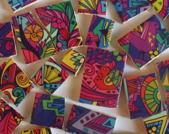 Ceramic Mosaic Tiles - Bright Colors Snail & Birds Swirls Zentangle Mosaic Tile - 30 Pieces - For Mosaic Art / Mixed Media Art/Jewelry
