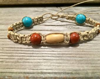 Women's Hemp Bracelet with Blue Turquoise, Red Jasper and Bone Beads