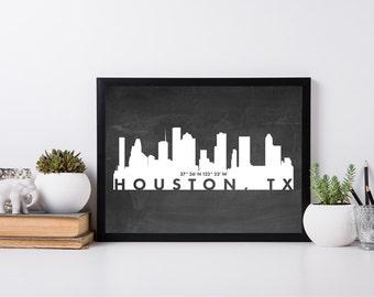 Houston City Art, coordinate art, house warming, newly weds, tourist, travel, traveler, gift, home decor, print, poster