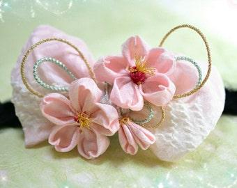 Baby thumb filigree-style silk cherry Ribbon with braid headband