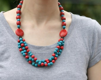 Red turquoise necklace, Wooden Bead Necklace, red statement necklace, color block necklace