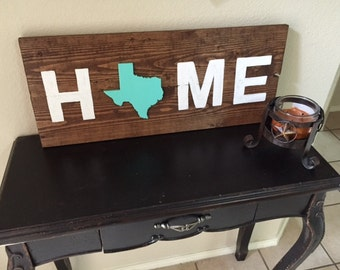 Wooden Home Sign with Texas in Mint (any state or color)