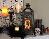 Halloween Lantern / Black Vintage Lantern / Lantern with candle / Scary Lantern / Spider Lantern / Black Lantern / Orange Candle Lantern