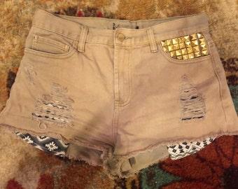 Tan High Waisted Jean Shorts- Size 3