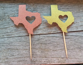 Gold and Copper Texas cupcake picks 6ct