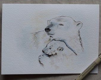 Print--Polar bear mommy and baby watercolor card