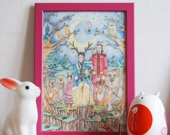 Poster Illustration, fine Art A4 limited signed and numbered print, Forest Family.