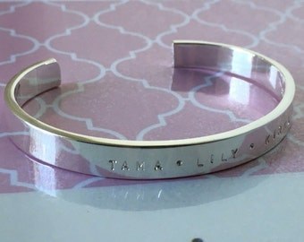 Personalised Hand Stamped Silver Cuff Bangle