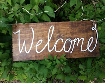 Wooden Welcome Sign- Handpainted Sign- Rustic Sign- Welcome Door Sign