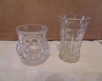 Set of two Clear Glass Miniature Cubs