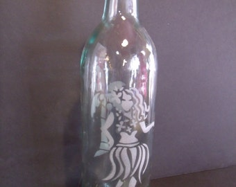Etched Glass Wine Bottle, (# 303/12)