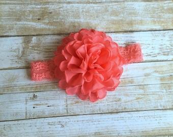 Coral Headband, Lace Coral Headband, Coral Baby Headband, Lace Headband, Baby Headband, Girl Headband, Infant Headband, Newborn Headband