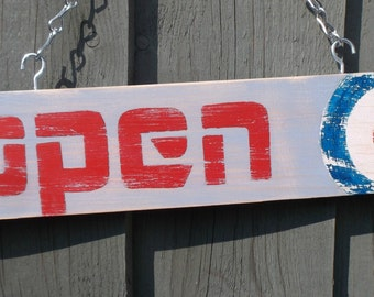 OPEN CLOSED sign hand painted with MOD theme