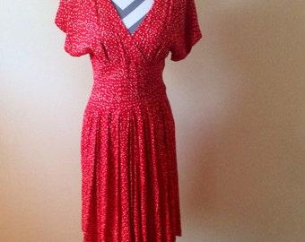 Vintage red dress/ polka dot belted dress/ 1980s dress
