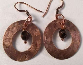 Copper, Impressed Design Texture, Disc Earring