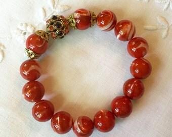 Orange/Red Marbleized Pearl Bead Bracelet