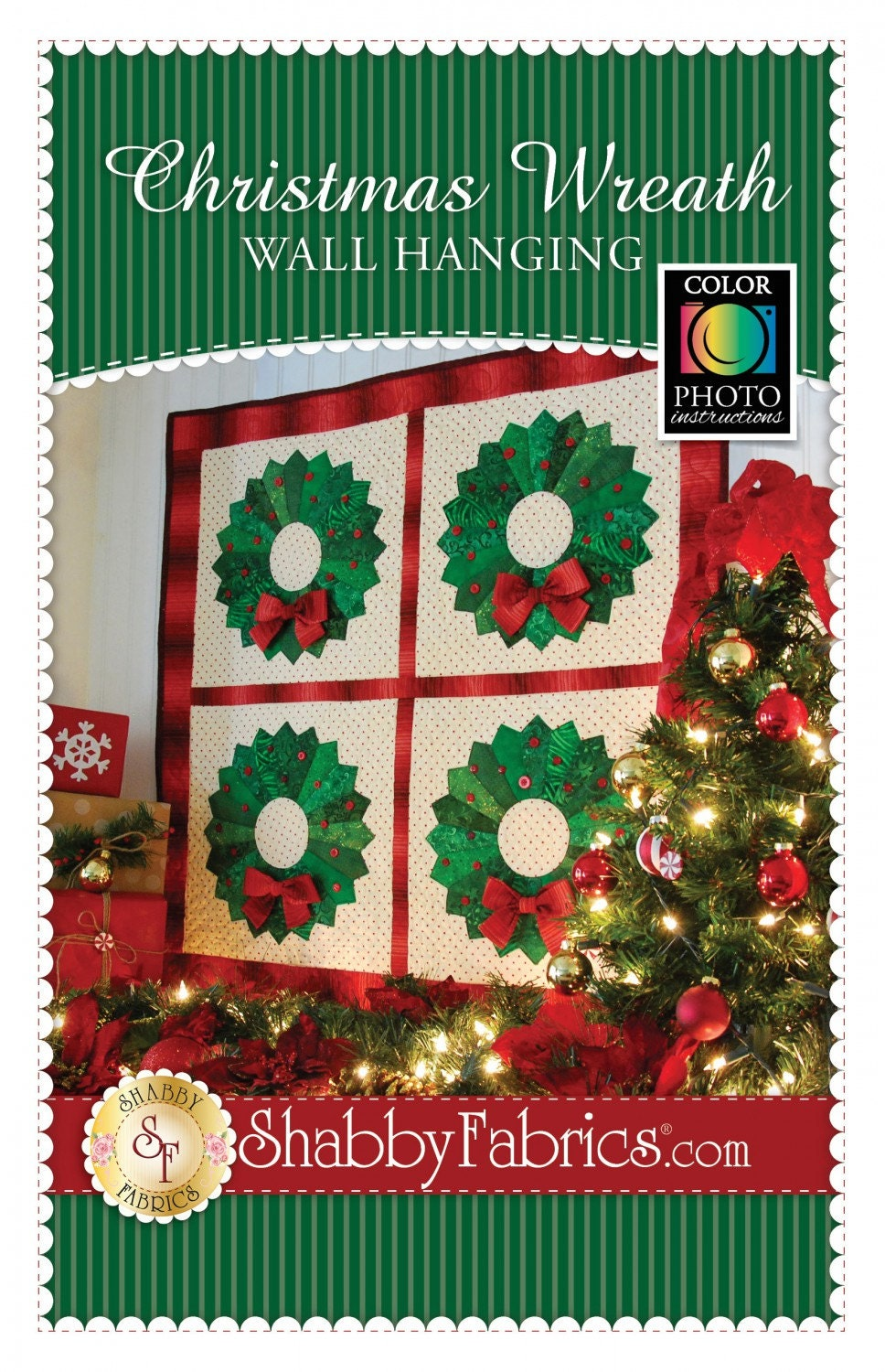 Christmas wreath quilt wall hanging pattern from shabby