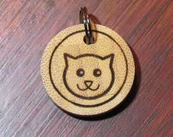 Cat Face Bamboo Tag - Cat Tag - Pet Tag