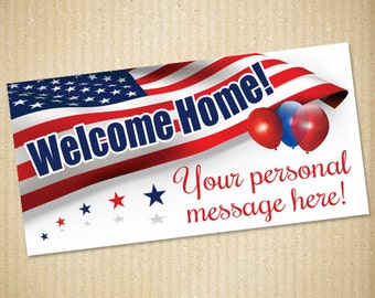 """Welcome Home, Military Banner, 72""""x36"""", Personalized Banner"""