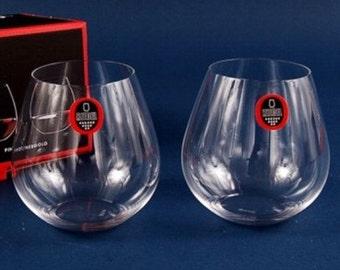 Item 0414-07 - Engraved Riedel Crystal Happy O Stemless 24 oz Wine Set of 2