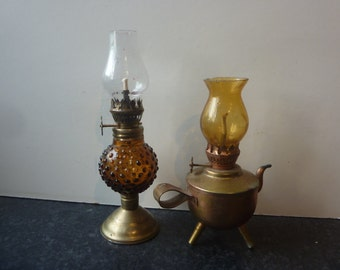 Vintage Mini Oil Lamps Lanterns  Mismatched Pair Amber Glass, and Copper with Brass