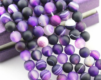 2.0mm Large Hole Purple Stripe Agate Smooth Round Loose Beads 15.5/'/' Long 8//10mm