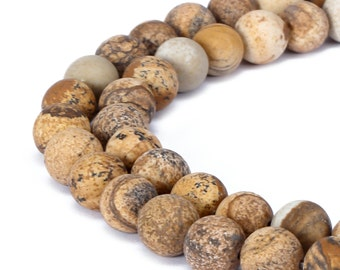 Matte Picture Jasper Round Well Polish Gemstone Loose Beads 15.5 Inch per Strand, Size 6mm/8mm/10mm/12mm.R-M-JAS-0211