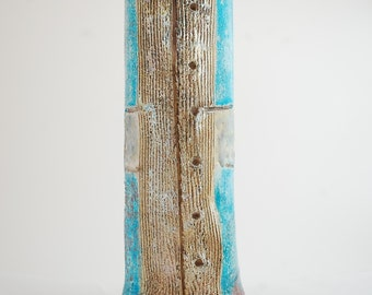 "Raku vase ""gentleman"" Turquoise, gold and white"