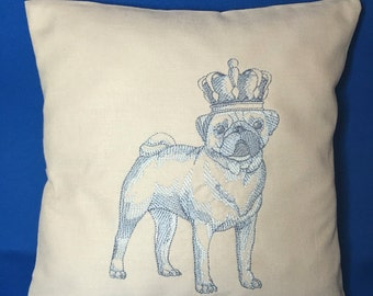 Handmade cushion machine embroidered pug dog any pet available