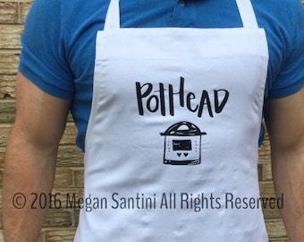 Instant Pot inspired apron, Pothead apron, pressure cooker, white, black, heat transfer vinyl
