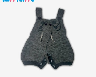 Elephant Baby Overalls - Hand Knitted - Cotton