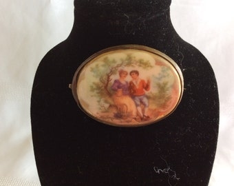 Antique oval porcelain cameo brooch Fragonard Courting couple scene