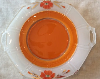 Art Deco Indiana glass serving plate with handle inverted orange paint poppy flowers pattern