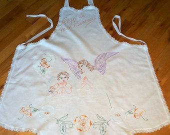 Vintage linen embroidery hostess apron full body hand embroidered angel with child