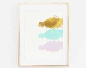 Watercolor Art Print, Abstract Art Print, Printable Art, Minimalist Poster, Abstract Wall Art, Pastel Colors, Printable Art, Gold and Mint