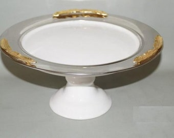 Elegance Gold Feather Cake Stand