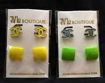 CC Designer Inspired stud earrings/Colorful/Bright/Light weight/Top seller