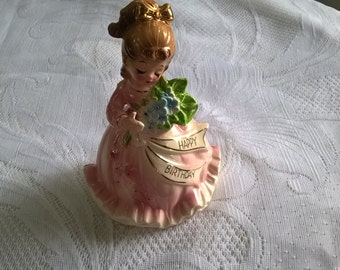 vintage enesco happy birthday girl  figurine