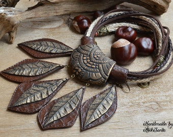 Statement jewelry Statement necklace Polymer clay jewelry for women Brown jewelry Brown necklace Autumn leaves Autumn jewelry Fall leaves
